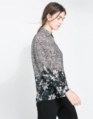 ASOS Inspired Vintage Floral Pattern Casual Chiffon Blouse Shirts -
