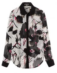 ASOS Inspired Vintage Flower Prints Casual Chiffon Blouse with Rivets Collar Woman Shirts -