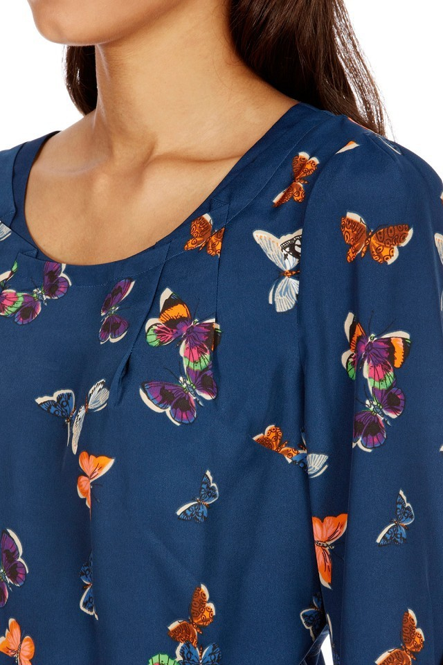 0bb47488edc64 Girls Color Butterfly Pattern O-neck Blouse Casual Shirt -. prev