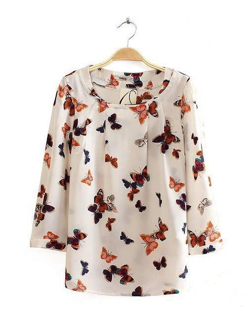 Girls Color Butterfly Pattern O Neck Blouse Casual Shirt