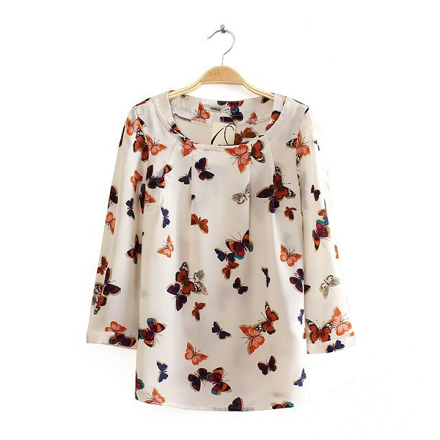15d4c4cdea4c9 Girls Color Butterfly Pattern O-neck Blouse Casual Shirt –