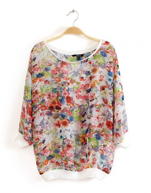 Girls Casual  Prints Chiffon Tops -