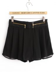 Girls Casual Pleated Shorts Chiffon Pants with Zipper Fly