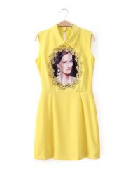 Girls Vintage Court Flowers Printed Sleeveless Turn-down Collar Above Knee A-Line Dress