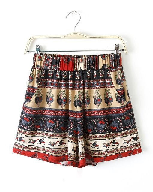 Grils Chinese Style Flower Printed Elastic Waist Shorts Trousers with Pockects