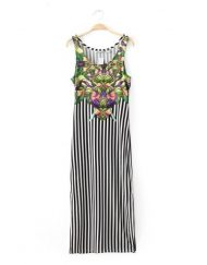 Brief Flowers Printed Ankle-Length Sleeveless Straight Black and White Vertical Stripe Dress