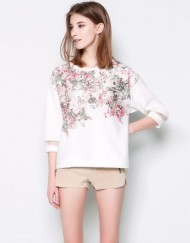 Casual Floral Prints Three Quarter Sleeves T-shirts Woman Tops