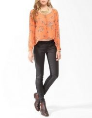 Casual Flowers Prints V-Neck Full Sleeves Chiffon Blouse with Buttons