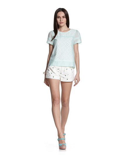 Casual O-neck Short Sleeves Chiffon Blouse with Butto