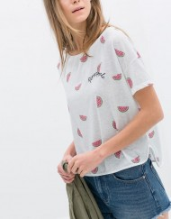 Casual Pineapple&Watermelon Embroidery T-shirts Tops