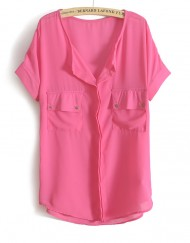 Casual V-neck Short Sleeves Chiffon Blouse with Pocke
