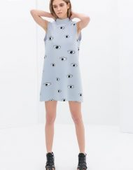 Top Shop Inspired Big Eyes Printed Off the Shoulder Turtleneck Mini Straight Dress with Zipper on Bac