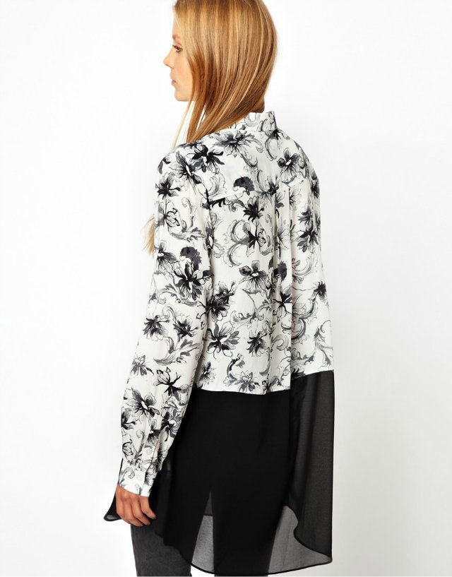 Camellia Printed Turn-Down Collar Back Sweep Patchwork Chiffon Blous