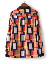 Turn-down Collar Full Sleeves Chiffon Colorful Plaid Blouse with Buttons