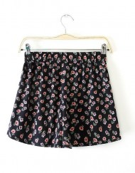 Rural Style Floral Printed Elastic Waist Shorts Trousers