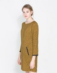 ASOS Inspired Black Dots Prints Long Sleeves O-neck Dress  DRB