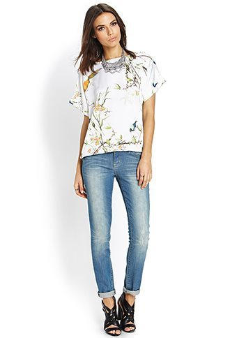 ASOS Inspired Casual Birds& Flowers Prints O-Neck Chiffon Blouse