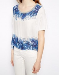 ASOS Inspired Casual Blue Floral T-shirts Short SleevesTops