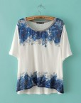 ASOS Inspired Casual Blue Floral T-shirts Short SleevesTops