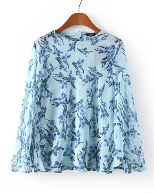 ASOS Inspired Casual Blue Flower Prints O-neck Chiffon Blouse with Buttons on Back