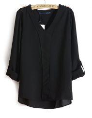 ASOS Inspired Casual V-Neck Three Quarter Sleeves Chiffon Blouse