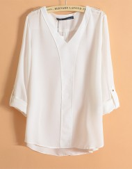 ASOS Inspired Casual V-Neck Three Quarter Sleeves Chiffon Blouse