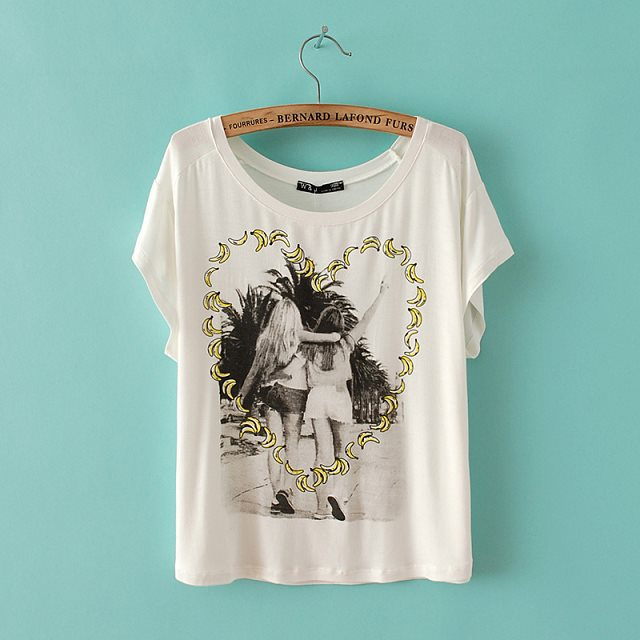 ASOS Inspired Casual bananas Heart-shaped Patterns T-shirts Woman Butterfly SleevesTops