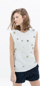 ASOS Inspired O-Neck Beautiful Pearl Flower PrintsTops T-shirt