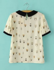 ASOS Inspired Owls Printed Peter Pan Colar Short Sleeves Chiffon Blouse with Button on Bac