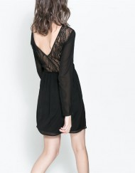 ASOS Inspired Pure color Long Sleeves Lace Combined Chiffon Dress DRB