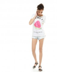 ASOS Inspired Watermelon&Letter Pattern Short Sleeve O-Neck Tops T-shirt