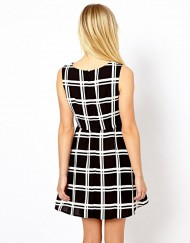 ASOS Inspired's Brief Black&White Plaids Pattern Casual Tank Dress