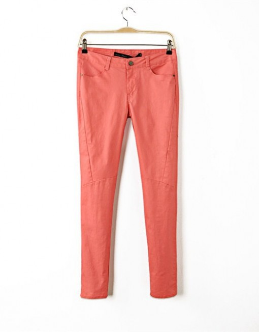 Style Super Cool Trousers with Zipper pockets on Hips Slim Fit Pencil Pants -