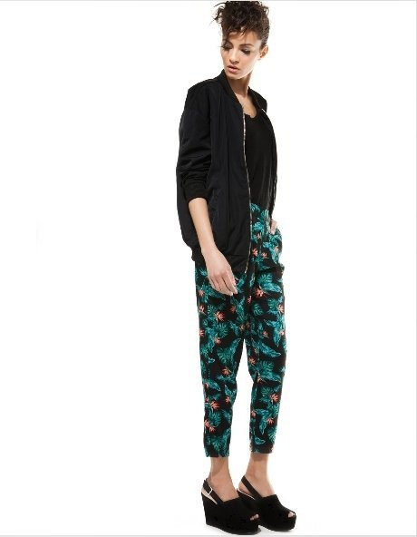 Vintage Flower Prints Skinny Pencil Trousers with Pock