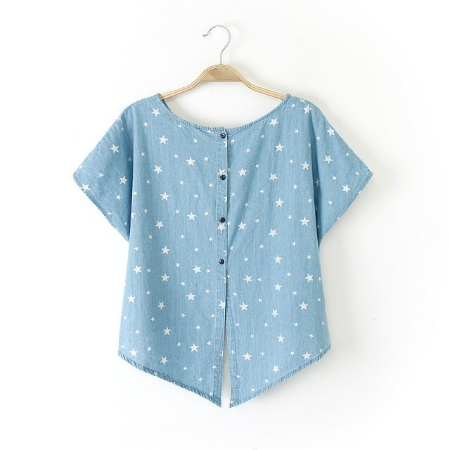 Woman Casual Stars Patterns T-shirts Batwing Sleeves O-Neck Jean Tops with Buttons on Bac