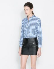 Blue Striped Prints Casual Blouse leisure Shirt-