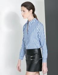Blue Striped Prints Casual Blouse leisure Shirt-