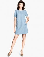 Casual Above Knee Short Sleeves Straight Jean Dress with Zipper&Pock