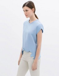 Casual Asymmetric Hem T-shirt Shor Sleeves Tops Tees