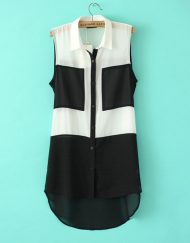 Casual Contrast Color Turn-down Collar Sleeveless Chiffon Blouse with Pocke