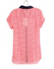 Casual Floral Turn-down Collar Short Sleeves Chiffon Blouse