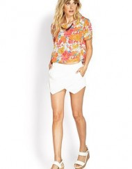 Casual Flowers Prints O-Neck Short Sleeves Chiffon Blouse with Button on Bac