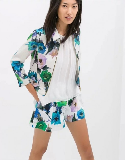 Casual Flowers Prints Turn-down Collar Zipper Outwear Coats