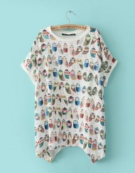 Casual Owls Printed O-neck Batwing Sleeves T-shirts ASOS Inspired Tops