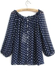 Casual Polka Dot Printed O-neck Lantern Sleeves Chiffon Blouse with Buttons