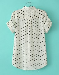 Casual Polka Dot Standing Collar Short Sleeves Chiffon Blouse with Pock