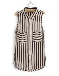 Casual Striped Turn-down Collar Sleeveless Chiffon Blouse with Pocke