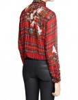 Checked Prints Casual Chiffon Blouse leisure Shirt