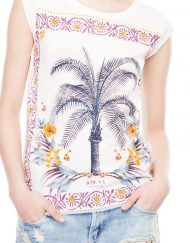 Colored Coconut Trees Printed Casual T-shirts ASOS Inspired Tops