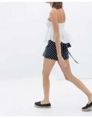Dots Prints Casual Shorts Skirts with Bows Pants